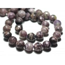 Fil 39cm 39pc env - Perles de Pierre - Charoïte Violet Mauve Noir Boules Facettées 10mm