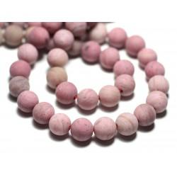 Fil 39cm 44pc env - Perles de Pierre - Rhodonite rose Boules 8mm Mat Sablé Givré