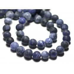 Fil 39cm 45pc env - Perles de Pierre - Sodalite Bleu Noir Boules 8mm Mat Sablé Givré