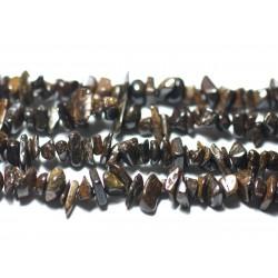 Fil 89cm 280pc env - Perles de Pierre - Bronzite Rocailles Chips 5-11mm