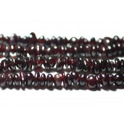 Fil 89cm 280pc env - Perles de Pierre - Grenat rouge bordeaux Rocailles Chips 4-10mm