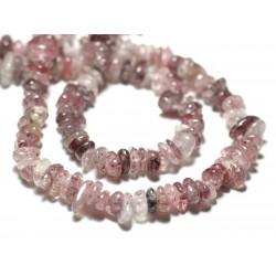 Fil 39cm 130pc env - Perles de Pierre Quartz Hématite Hématoide Chips Palets Rondelles 5-10mm