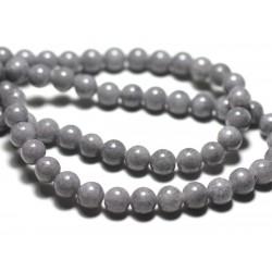 Fil 39cm 66pc env - Perles de Pierre - Jade Boules 6mm Gris clair Souris