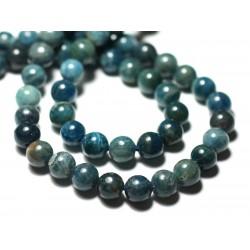 Fil 39cm 70pc env - Perles de Pierre - Apatite bleu vert paon Boules 6mm
