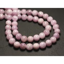 Fil 39cm 63pc env - Perles de Pierre - Kunzite Rose Boules 6mm