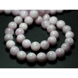 Fil 39cm 40pc env - Perles de Pierre - Kunzite Rose Boules 10mm