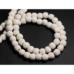 Fil 39cm 50pc env - Perles de Pierre - Lave Boules 7-9mm Blanc