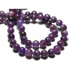 Fil 39cm 47pc env - Perles de Pierre - Lépidolite violette Boules 8mm