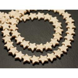 Fil 39cm 38pc env - Perles de Pierre Turquoise Synthèse Reconstituée Étoiles 12mm Blanc crème