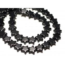 Fil 39cm 38pc env - Perles de Pierre Turquoise Synthèse Reconstituée Étoiles 12mm Noir