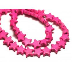 Fil 39cm 38pc env - Perles de Pierre Turquoise Synthèse Reconstituée Étoiles 12mm Rose Fluo