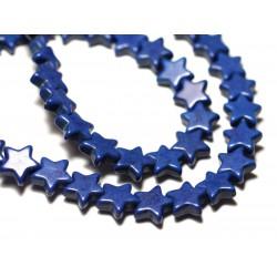Fil 39cm 38pc env - Perles de Pierre Turquoise Synthèse Reconstituée Étoiles 12mm Bleu Nuit Roi