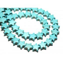Fil 39cm 38pc env - Perles de Pierre Turquoise Synthèse Reconstituée Étoiles 12mm Bleu Turquoise