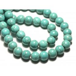 Fil 39cm 42pc env - Perles de Pierre Turquoise Synthèse Reconstituée Boules 10mm Bleu Turquoise