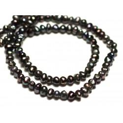 Fil 37cm 155pc env - Perles culture eau douce Boules 2-3mm Noir irisé