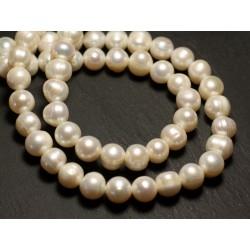 Fil 38cm 42pc env - Perles culture eau douce Boules 9-11mm Blanc irisé
