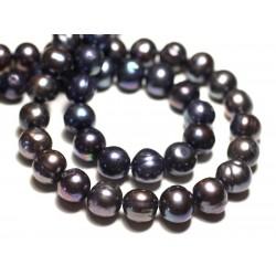 Fil 37cm 34pc env - Perles culture eau douce Boules 10-12mm Noir irisé