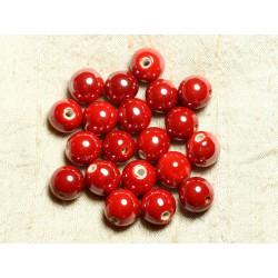 50pc - Perles Céramique Porcelaine Boules 14mm Rouge vif irisé