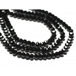 Fil 39cm 88pc env - Perles de Pierre - Spinelle noir Rondelles Facettées 6x4mm