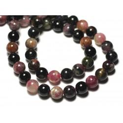 Fil 39cm 46pc env - Perles de Pierre - Tourmaline Multicolore Boules 8mm