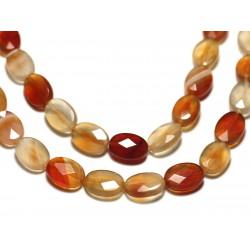 Fil 39cm 32pc env - Perles de Pierre - Cornaline Ovales Facettés 14x10mm