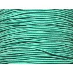 Bobine 100 mètres env - Fil Cordon Tissu Elastique 1mm Vert Turquoise Emeraude