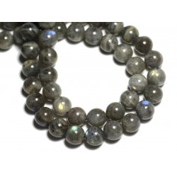 Fil 39cm 61pc env - Perles de Pierre - Labradorite Boules 6mm