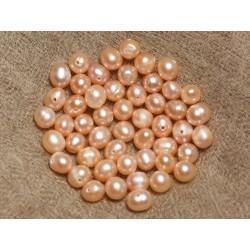 Fil 36cm 62pc env - Perles culture eau douce roses Boules Olives 5-7mm