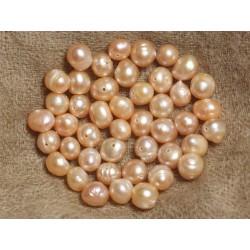 Fil 36cm 53pc env - Perles culture eau douce roses Boules Olives 6-8mm