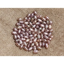 Fil 36cm 90pc env - Perles culture eau douce Olives 3-5mm Rose