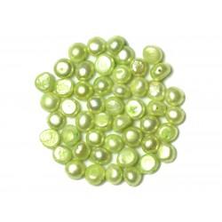 Fil 38cm 47pc env - Perles culture eau douce Boules Palets 7-9mm Vert clair anis