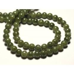 Fil 39cm 66pc env - Perles de Pierre - Jade Boules 6mm Vert Kaki clair