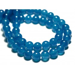 Fil 39cm 46pc env - Perles de Pierre - Jade Boules 8mm Bleu Azur