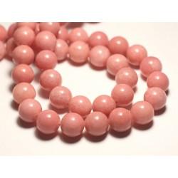 Fil 39cm 32pc env - Perles de Pierre - Jade Boules 12mm Rose Corail Pêche