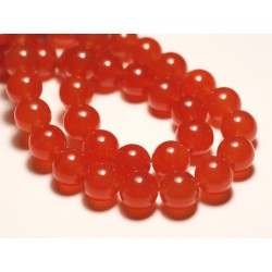 Fil 39cm 32pc env - Perles de Pierre - Jade Boules 12mm Orange