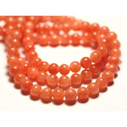 Fil 39cm 67pc env - Perles de Pierre - Jade Boules 6mm Orange Pastel Mandarine