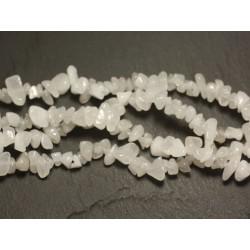 Fil 89cm 240pc env - Perles de Pierre - Jade blanche Rocailles Chips 5-10mm