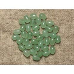 Fil 39cm 48pc env - Perles de Pierre - Aventurine Verte Gouttes 8x6mm