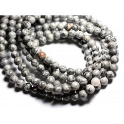 Fil 39cm 58pc env - Perles de Pierre - Jaspe Paysage Grise et Noire Boules 6mm