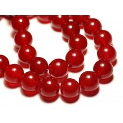 Fil 39cm 27pc env - Perles de Pierre - Jade Boules 14mm Rouge
