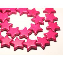 Fil 39cm 18pc env - Perles de Pierre Turquoise Synthèse Reconstituée Étoiles 25mm Rose Fluo