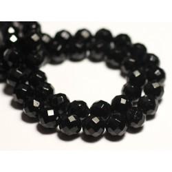 Fil 39cm 63pc env - Perles de Pierre - Tourmaline noire Boules Facettées 6mm