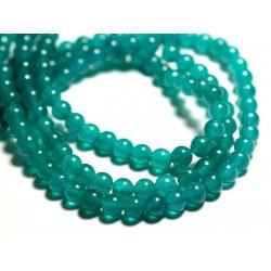 Fil 39cm 65pc env - Perles de Pierre - Jade Boules 6mm Bleu Vert Paon Turquoise