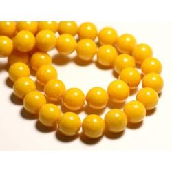 Fil 39cm 40pc env - Perles de Pierre - Jade Boules 10mm Jaune