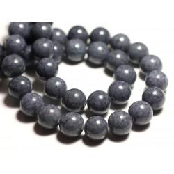 Fil 39cm 40pc env - Perles de Pierre - Jade Boules 10mm Gris Anthracite