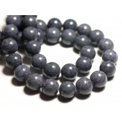 Fil 39cm 34pc env - Perles de Pierre - Jade Boules 12mm Gris Anthracite