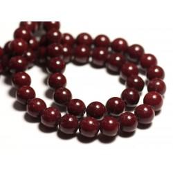 Fil 39cm 50pc env - Perles de Pierre - Jade Boules 8mm Rouge Bordeaux