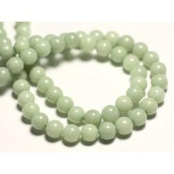 Fil 39cm 65pc env - Perles de Pierre - Jade Boules 6mm Vert clair amande Pastel