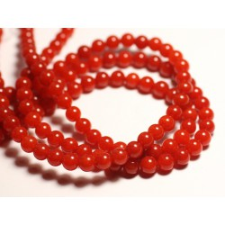 Fil 39cm 60pc env - Perles de Pierre - Jade Boules 6mm rouge orange capucine