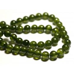 Fil 39cm 48pc env - Perles de Pierre - Jade Boules 8mm Vert Olive Kaki